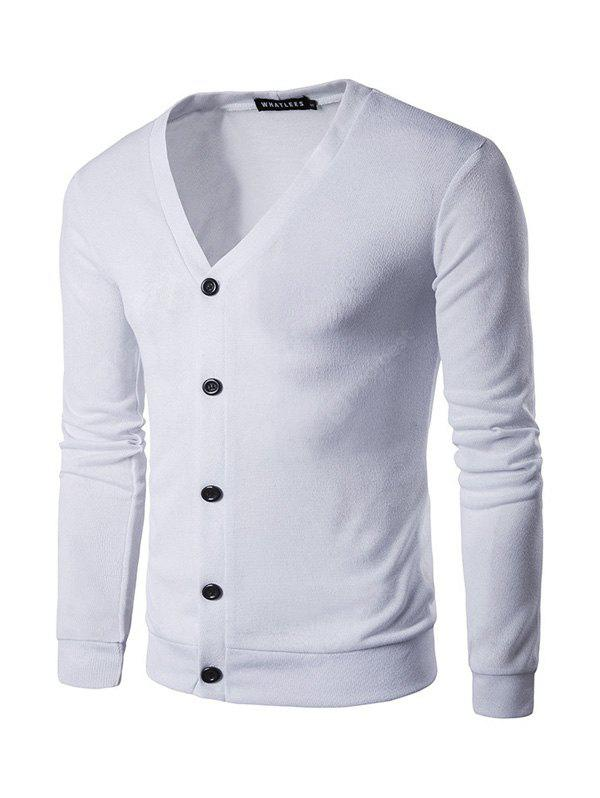 Male Cool Casual Pure Color Button Up Cardigan