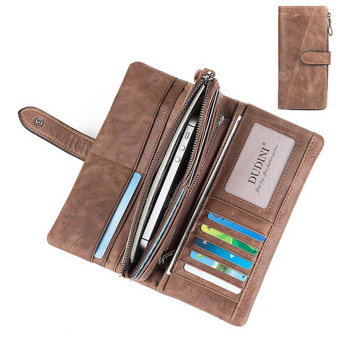 DUDINI Retro Genuine Leather Clutch Long Wallet