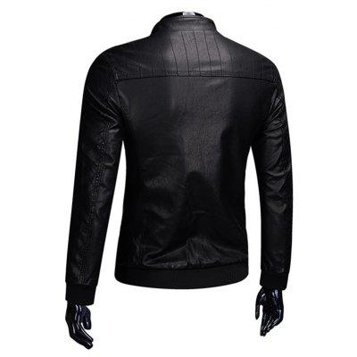 Men Stand Collar Leather JacketMens Jackets &amp; Coats<br>Men Stand Collar Leather Jacket<br><br>Closure Type: Zipper<br>Clothes Type: Leather Jacket<br>Collar: Stand Collar<br>Embellishment: Others<br>Materials: PU<br>Occasion: Daily Use<br>Package Content: 1 x Leather Jacket<br>Package Dimension: 35.00 x 25.00 x 2.00 cm / 13.78 x 9.84 x 0.79 inches<br>Package weight: 0.9200 kg<br>Pattern Type: Solid<br>Product weight: 0.9000 kg<br>Seasons: Winter<br>Shirt Length: Regular<br>Sleeve Length: Long Sleeves<br>Style: Fashion<br>Thickness: Medium thickness