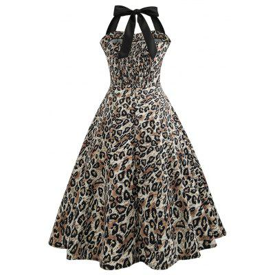 Vintage Leopard Motif Halter Fit Flare DressWomens Dresses<br>Vintage Leopard Motif Halter Fit Flare Dress<br><br>Dresses Length: Maxi<br>Material: Cotton, Polyester<br>Neckline: Sweetheart Neck<br>Package Contents: 1 x Dress<br>Package size: 36.00 x 28.00 x 3.00 cm / 14.17 x 11.02 x 1.18 inches<br>Package weight: 0.2700 kg<br>Pattern Type: Leopard<br>Product weight: 0.2500 kg<br>Season: Summer, Fall, Spring, Winter<br>Silhouette: Fit and Flare<br>Sleeve Length: Sleeveless<br>Sleeve Type: Cold Shoulder<br>Style: Vintage<br>Waist: Empire<br>With Belt: No