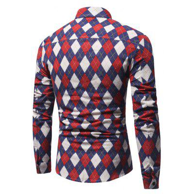 Men Stylish Rhombus Printed Long Sleeve ShirtMens Shirts<br>Men Stylish Rhombus Printed Long Sleeve Shirt<br><br>Closure Type: Button<br>Material: Cotton, Linen<br>Package Contents: 1 x Shirt<br>Package size: 40.00 x 30.00 x 4.00 cm / 15.75 x 11.81 x 1.57 inches<br>Package weight: 0.2800 kg<br>Product weight: 0.2500 kg<br>Thickness: Regular
