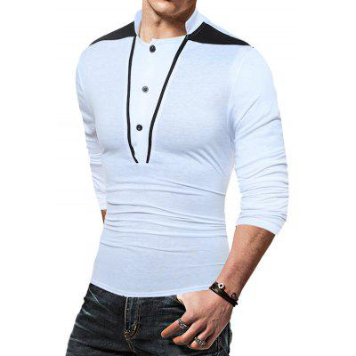 Stand Collar Long Sleeves T-shirtMens Long Sleeves Tees<br>Stand Collar Long Sleeves T-shirt<br><br>Material: Cotton, Polyester<br>Neckline: Stand<br>Package Content: 1 x T-shirt<br>Package size: 30.00 x 20.00 x 1.00 cm / 11.81 x 7.87 x 0.39 inches<br>Package weight: 0.2300 kg<br>Product weight: 0.2100 kg<br>Season: Autumn, Spring<br>Sleeve Length: Long Sleeves