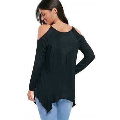 Hollow-out Cold Shoulder Handkerchief BlouseBlouses<br>Hollow-out Cold Shoulder Handkerchief Blouse<br><br>Collar: Round Collar<br>Embellishment: Hollow Out<br>Material: Cotton, Polyester<br>Package Content: 1 x Blouse<br>Package size (L x W x H): 36.00 x 28.00 x 3.00 cm / 14.17 x 11.02 x 1.18 inches<br>Package weight: 0.2700 kg<br>Pattern Type: Hollow Out<br>Product weight: 0.2500 kg<br>Season: Fall, Spring<br>Shirt Length: Regular<br>Sleeve Length: Long Sleeves<br>Sleeve Type: Cold Shoulder<br>Style: Hollow-out, Fashion, Active, Casual