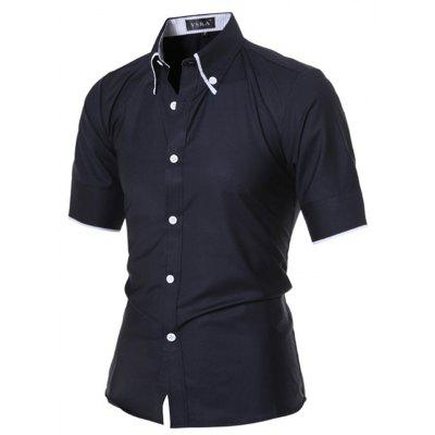 Fashion Stand Collar Short Sleeve ShirtMens Shirts<br>Fashion Stand Collar Short Sleeve Shirt<br><br>Closure Type: Button<br>Material: Cotton, Polyester<br>Occasion: Casual<br>Package Contents: 1 x Shirt<br>Package size: 30.00 x 20.00 x 1.00 cm / 11.81 x 7.87 x 0.39 inches<br>Package weight: 0.2000 kg<br>Product weight: 0.1800 kg<br>Thickness: Regular
