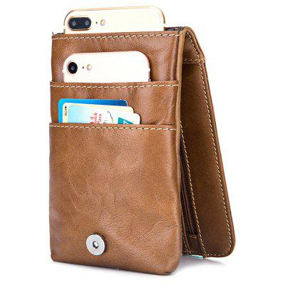 BULLCAPTAIN Genuine Leather Mini Cellphone Waist Bag