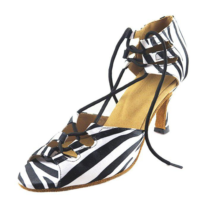 Women Unique Cross Lace-up Zebra-stripe Latin Dance Pumps ZEBRA STRIPE