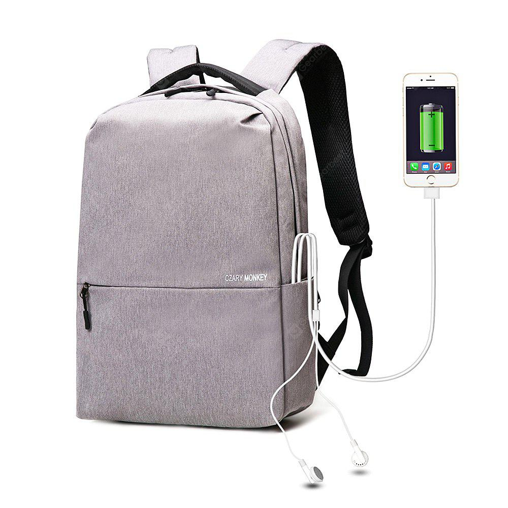 Splicing Nylon Laptop Backpack with USB Port