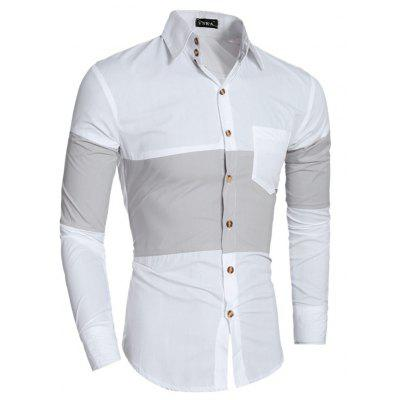 Men Leisure Splicing Long Sleeve Button Down ShirtMens Shirts<br>Men Leisure Splicing Long Sleeve Button Down Shirt<br><br>Closure Type: Button<br>Material: Cotton, Polyester<br>Package Contents: 1 x Shirt<br>Package size: 30.00 x 20.00 x 1.00 cm / 11.81 x 7.87 x 0.39 inches<br>Package weight: 0.2300 kg<br>Product weight: 0.2100 kg<br>Style: Casual