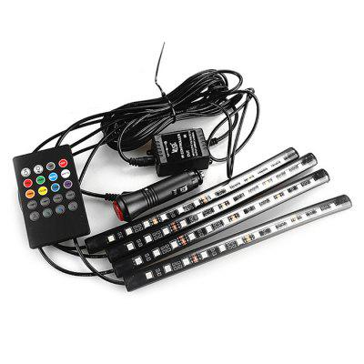 LED Atmosphere Floor Strip Car Interior Lamp SetCar Lights<br>LED Atmosphere Floor Strip Car Interior Lamp Set<br><br>Lumen: 800lm<br>Package Contents: 1 x Set of Strip Lamp, 1 x Remote Control, 1 x Accessory<br>Package size (L x W x H): 23.00 x 8.00 x 5.00 cm / 9.06 x 3.15 x 1.97 inches<br>Package weight: 0.2250 kg<br>Product weight: 0.2000 kg