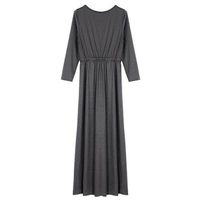 Casual Elasticized Waist Long Sleeves DressWomens Dresses<br>Casual Elasticized Waist Long Sleeves Dress<br><br>Dresses Length: Maxi<br>Material: Polyester, Spandex<br>Neckline: Round Collar<br>Package Contents: 1 x Dress<br>Package size: 35.00 x 28.00 x 3.00 cm / 13.78 x 11.02 x 1.18 inches<br>Package weight: 0.3600 kg<br>Pattern Type: Solid Color<br>Product weight: 0.3300 kg<br>Season: Fall, Spring<br>Silhouette: Swing<br>Sleeve Length: Long Sleeves<br>Style: Casual<br>With Belt: No