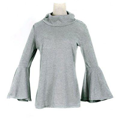 Funnel Neck Flare Sleeves Wrap T-Shirt