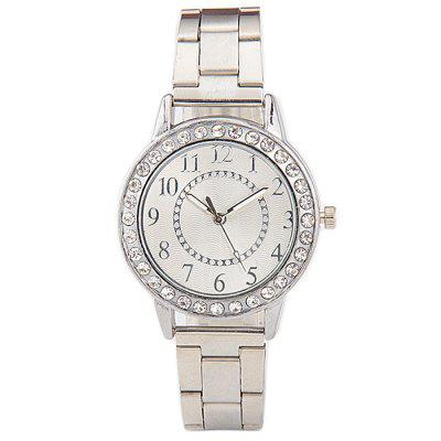 Round Diamante Alloy Band Quartz Women Watch