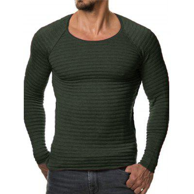 Buy BLACKISH GREEN L Men Stylish Round Neck Long Sleeves Cardigan Sweater for $14.79 in GearBest store
