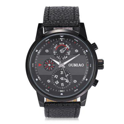 OUMIAO 8005 Leather Band Men Quartz Watch обувь