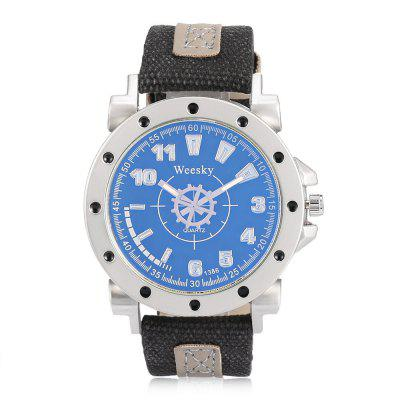 WEESKY 1386 Canvas Band Men Quartz WatchMens Watches<br>WEESKY 1386 Canvas Band Men Quartz Watch<br><br>Band material: Canvas<br>Band size: 19.2 x 2.2cm<br>Brand: Weesky<br>Case material: Alloy<br>Clasp type: Pin buckle<br>Dial size: 4.7 x 4.7 x 1.1cm<br>Display type: Analog<br>Movement type: Quartz watch<br>Package Contents: 1 x Men Watch<br>Package size (L x W x H): 25.00 x 5.50 x 4.00 cm / 9.84 x 2.17 x 1.57 inches<br>Package weight: 0.0600 kg<br>Product size (L x W x H): 19.20 x 4.70 x 1.30 cm / 7.56 x 1.85 x 0.51 inches<br>Product weight: 0.0570 kg<br>Shape of the dial: Round<br>Watch mirror: Acrylic<br>Watch style: Fashion, Casual<br>Watches categories: Men<br>Water resistance: Life water resistant