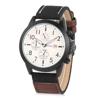 WEESKY 6469 Leather Band Men Quartz Watch