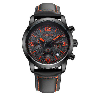 Gearbest OCHSTIN 6047G Leather Band Men Quartz Watch