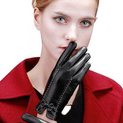 Women PU Leather Warm Gloves with Butterfly Knot Decoration