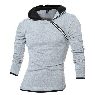 Diagonal Zip Placket HoodieMens Hoodies &amp; Sweatshirts<br>Diagonal Zip Placket Hoodie<br><br>Clothes Type: Hoodie<br>Material: Cotton, Polyester<br>Package Contents: 1 x Hoodie<br>Package size: 30.00 x 25.00 x 3.00 cm / 11.81 x 9.84 x 1.18 inches<br>Package weight: 0.3500 kg<br>Product weight: 0.3300 kg