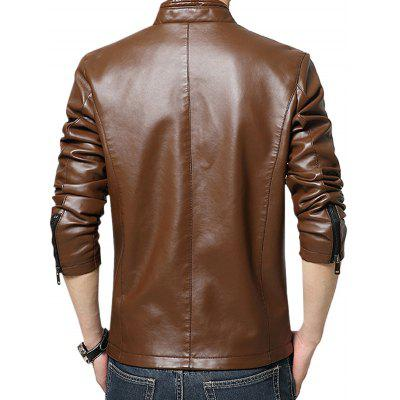 Casual Stand Collar PU Leather CoatMens Jackets &amp; Coats<br>Casual Stand Collar PU Leather Coat<br><br>Closure Type: Zipper<br>Clothes Type: Leather Jacket<br>Collar: Stand Collar<br>Embellishment: Zippers<br>Materials: PU<br>Occasion: Daily Use<br>Package Content: 1 x Leather Coat<br>Package Dimension: 35.00 x 25.00 x 2.00 cm / 13.78 x 9.84 x 0.79 inches<br>Package weight: 0.9200 kg<br>Pattern Type: Others<br>Product weight: 0.9000 kg<br>Seasons: Winter<br>Shirt Length: Regular<br>Sleeve Length: Long Sleeves<br>Style: Fashion<br>Thickness: Medium thickness