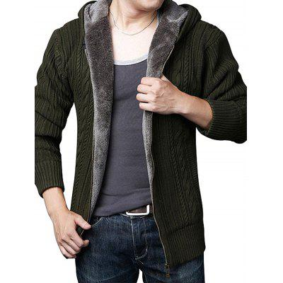 Solid Color Hooded Pile-lined Sweater Cardigan