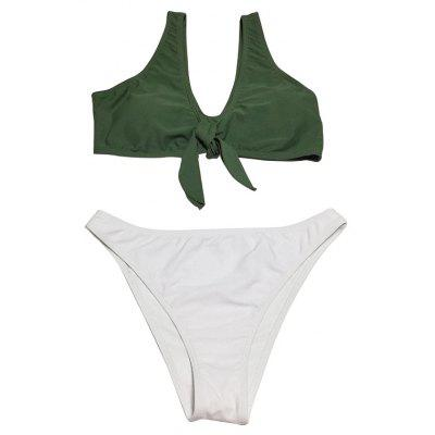 Two-piece Strap Bowknot T-back Swimsuits Bikini
