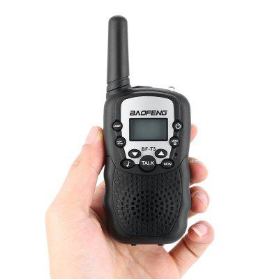 BAOFENG BF - T3 Wireless Walkie Talkie ( EU Version ) 2PCSWalkie Talkies<br>BAOFENG BF - T3 Wireless Walkie Talkie ( EU Version ) 2PCS<br><br>Brand: Baofeng<br>Earpiece/MIC Type: 2.5mm T-type<br>Main Functions: Scan, VOX, Monitoring<br>Package Contents: 2 x BAOFENG Walkie Talkie, 1 x English User Manual<br>Package Dimension: 15.00 x 9.00 x 8.00 cm / 5.91 x 3.54 x 3.15 inches<br>Package weight: 0.3000 kg<br>Product Dimension: 5.50 x 2.50 x 14.50 cm / 2.17 x 0.98 x 5.71 inches<br>Product weight: 0.0800 kg<br>Special function: LED torch, Call tone