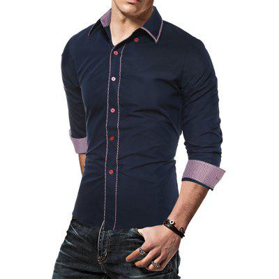 Slim Fit Long Sleeve Shirt with Checked MotifsMens Shirts<br>Slim Fit Long Sleeve Shirt with Checked Motifs<br><br>Closure Type: Button<br>Material: Cotton, Polyester<br>Package Contents: 1 x Shirt<br>Package size: 30.00 x 25.00 x 2.00 cm / 11.81 x 9.84 x 0.79 inches<br>Package weight: 0.2300 kg<br>Product weight: 0.2100 kg<br>Thickness: Regular