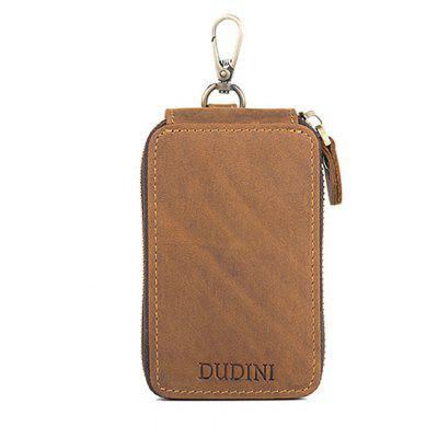 DUDINI Retro Leather Zipper Around Key Case Wallet