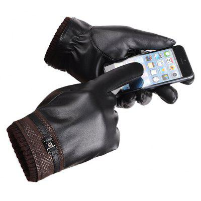 Winter Warm Screen Touch PU Gloves for Men