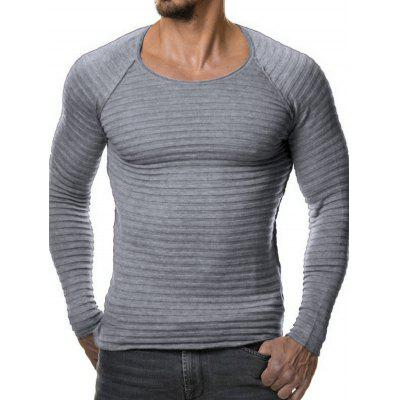 Solid Color Round Neck Knitting Sweater