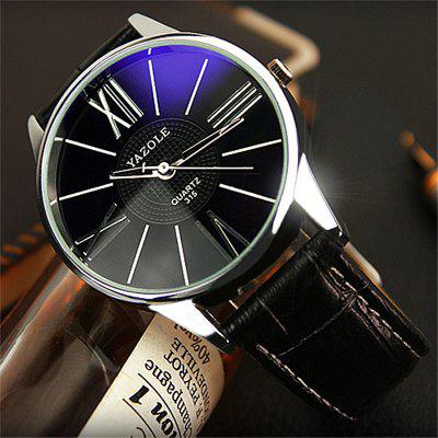 Yazole 315 Leather Band Men Quartz WatchMens Watches<br>Yazole 315 Leather Band Men Quartz Watch<br><br>Band material: Leather<br>Band size: 23 x 2cm<br>Brand: Yazole<br>Case material: Alloy<br>Clasp type: Pin buckle<br>Dial size: 4 x 4 x 0.8cm<br>Display type: Analog<br>Movement type: Quartz watch<br>Package Contents: 1 x Watch<br>Package size (L x W x H): 25.00 x 6.00 x 2.80 cm / 9.84 x 2.36 x 1.1 inches<br>Package weight: 0.0600 kg<br>Product size (L x W x H): 23.00 x 4.00 x 0.80 cm / 9.06 x 1.57 x 0.31 inches<br>Product weight: 0.0400 kg<br>Shape of the dial: Round<br>Watch style: Fashion<br>Watches categories: Men