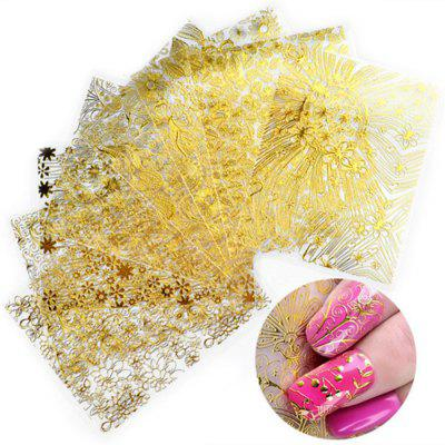 XM DIY Nails Sticker Goud Reliëf Fringe Art Decals 8PCS