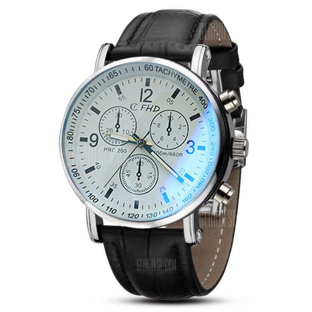 with quartz faux and blue free shipping watch leather men luxury band analog hq sinobi product glass ray watches dial original