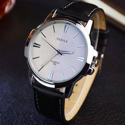 Gearbest Yazole 332 Men Trendy Leather Band Luminous Quartz Watch
