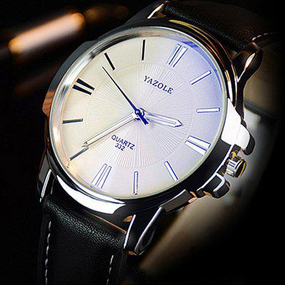 Yazole 332 Men Trendy Leather Band Luminous Quartz WatchMens Watches<br>Yazole 332 Men Trendy Leather Band Luminous Quartz Watch<br><br>Band material: Leather<br>Band size: 24 x 2cm<br>Brand: Yazole<br>Case material: Alloy<br>Clasp type: Pin buckle<br>Dial size: 4 x 4 x 1cm<br>Display type: Analog<br>Movement type: Quartz watch<br>Package Contents: 1 x Watch<br>Package size (L x W x H): 26.00 x 6.00 x 3.00 cm / 10.24 x 2.36 x 1.18 inches<br>Package weight: 0.0450 kg<br>Product size (L x W x H): 24.00 x 4.00 x 1.00 cm / 9.45 x 1.57 x 0.39 inches<br>Product weight: 0.0450 kg<br>Shape of the dial: Round<br>Special features: Luminous<br>Watch mirror: Mineral glass<br>Watch style: Fashion, Business<br>Watches categories: Men