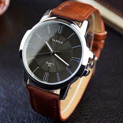 Yazole 332 Men Trendy Leather Band luminoso reloj de cuarzo