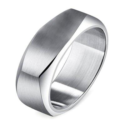 8mm Stainless Steel Square Cut Ring for Men