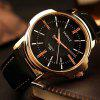 YAZOLE Men Elegant Business Leather Band Quartz Watch - BLACK BAND BLACK DIAL GOLDEN CASE