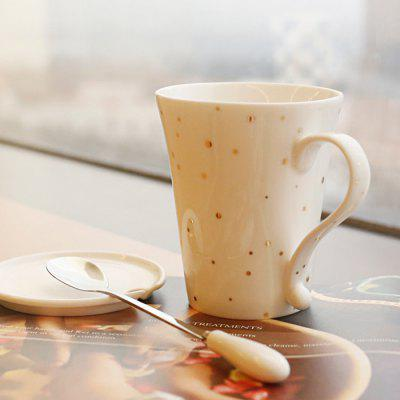 Modern Ceramic Mug with Lid and Spoon for Coffee Tea Milk