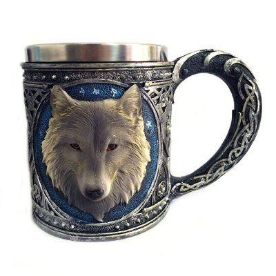 450ml 3D Wolf Head Design Mug Resin Stainless Steel Cup