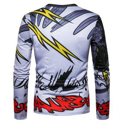 Round Neck T-shirt with Lightning MotifsMens Long Sleeves Tees<br>Round Neck T-shirt with Lightning Motifs<br><br>Material: Cotton, Polyester<br>Neckline: Round Neck<br>Package Content: 1 x T-shirt<br>Package size: 40.00 x 30.00 x 4.00 cm / 15.75 x 11.81 x 1.57 inches<br>Package weight: 0.2500 kg<br>Product weight: 0.2300 kg<br>Season: Spring, Autumn<br>Sleeve Length: Long Sleeves<br>Style: Casual