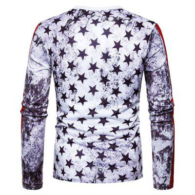 Round Neck T-shirt with Skulls Stars MotifsMens Long Sleeves Tees<br>Round Neck T-shirt with Skulls Stars Motifs<br><br>Material: Cotton, Polyester<br>Neckline: Round Neck<br>Package Content: 1 x T-shirt<br>Package size: 40.00 x 30.00 x 4.00 cm / 15.75 x 11.81 x 1.57 inches<br>Package weight: 0.2500 kg<br>Product weight: 0.2300 kg<br>Season: Spring, Autumn<br>Sleeve Length: Long Sleeves<br>Style: Casual