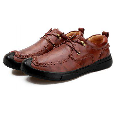 Men Casual Grained Crash-toe Stitching Leather Oxford Shoes