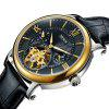 Nesun MN9091 Leather Band Mechanical Men Watch - BLACK BAND BLACK DIAL GOLDEN CASE