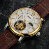 Nesun MN9091 Leather Band Mechanical Men Watch - BROWN BAND WHITE DIAL GOLDEN CASE