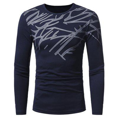 Buy CADETBLUE L Men Skin-loving Ventilate Print Slim Long Sleeves T-shirt for $14.52 in GearBest store