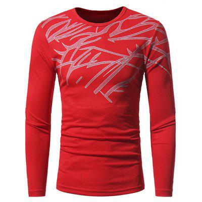Buy RED M Men Skin-loving Ventilate Print Slim Long Sleeves T-shirt for $14.52 in GearBest store