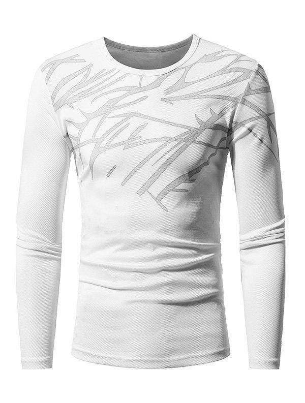 WHITE 3XL Men Skin-loving Ventilate Print Slim Long Sleeves T-shirt