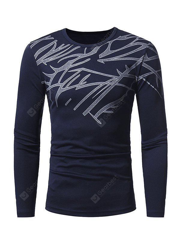 CADETBLUE 2XL Men Skin-loving Ventilate Print Slim Long Sleeves T-shirt